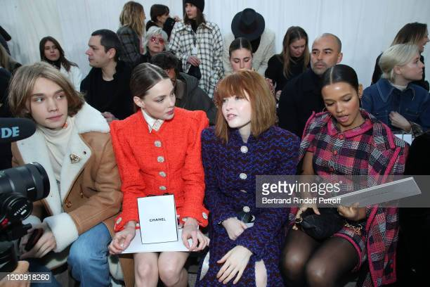 Charlie Plummer Kristine Froseth Ellie Bamber and Taylor Russell attend the Chanel Haute Couture Spring/Summer 2020 show as part of Paris Fashion...