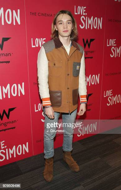 Charlie Plummer poses for a photo at the screening of Love Simon hosted by 20th Century Fox Wingman at The Landmark at 57 West on March 8 2018 in New...