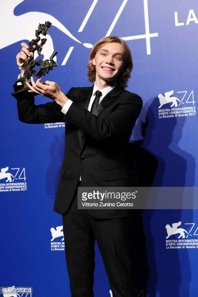 Charlie Plummer poses with the 'Marcello Mastroianni' Award for Best New Young Actor or Actress for 'Lean On Pete' at the Award Winners photocall...