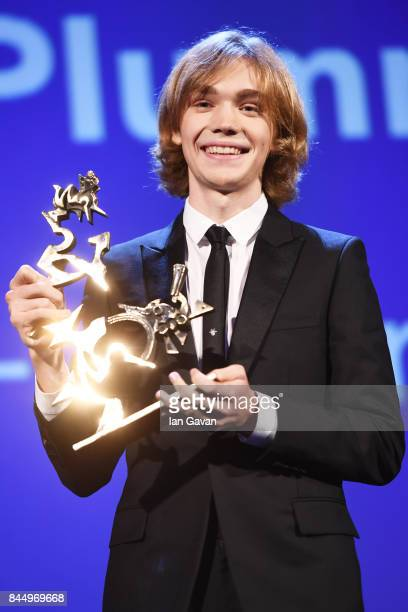 Charlie Plummer receives the 'Marcello Mastroianni' Award for Best New Young Actor or Actress for 'Lean On Pete' during the Award Ceremony of the...