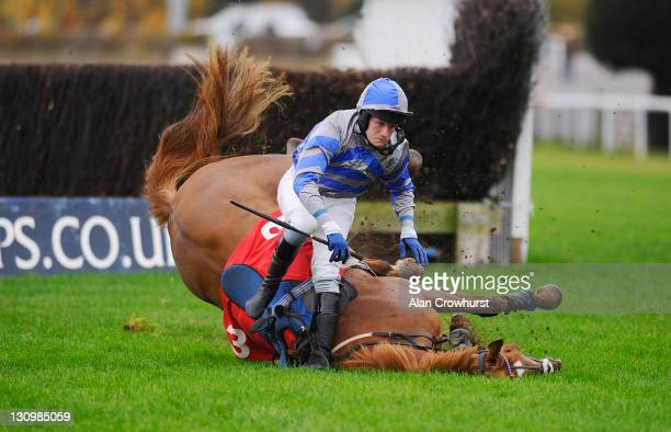 Charlie Poste riding Autumn Spirit fall at the last in The London Irish Boxing Day Party Novices' Handicap Steeple Chase at Kempton racecourse on...