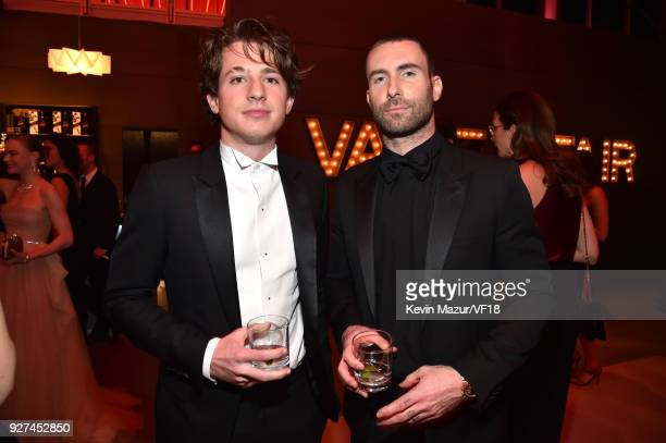 Charlie Puth and Adam Levine attend the 2018 Vanity Fair Oscar Party hosted by Radhika Jones at Wallis Annenberg Center for the Performing Arts on...