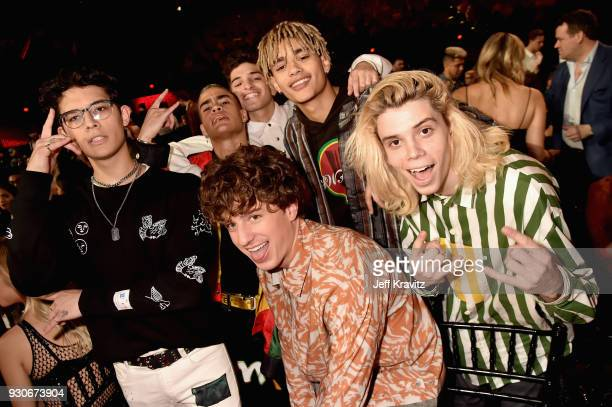 Charlie Puth and PrettyMuch attend the 2018 iHeartRadio Music Awards which broadcasted live on TBS TNT and truTV at The Forum on March 11 2018 in...