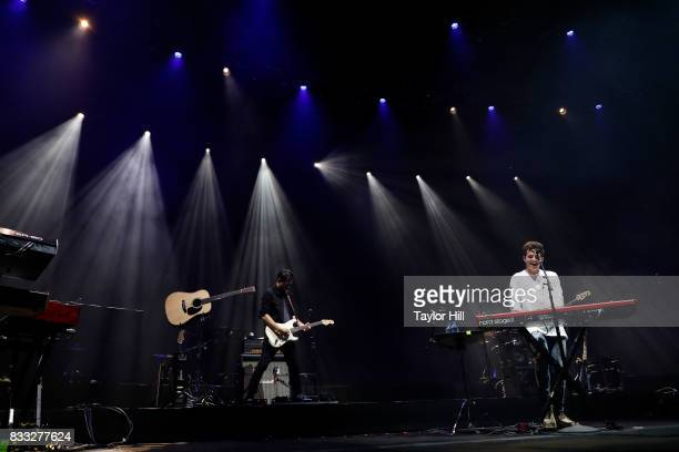 Charlie Puth performs during Shawn Mendes' Illuminate tour at Barclays Center of Brooklyn on August 16 2017 in the Brooklyn borough of New York City
