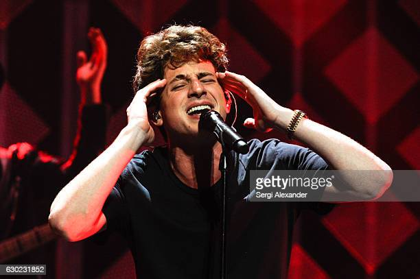 Charlie Puth performs on stage during the Y100's iHeartRadio Jingle Ball 2016 at BBT Center on December 18 2016 in Sunrise Florida