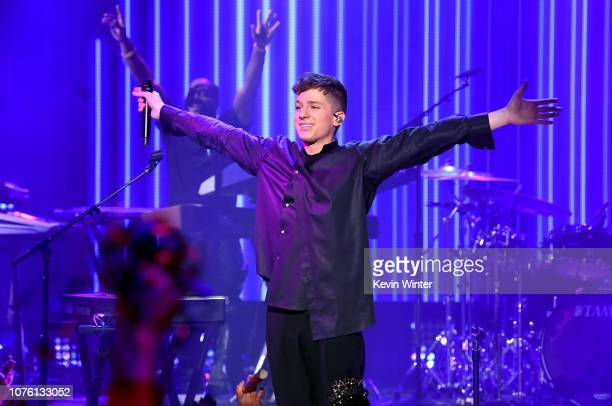 Charlie Puth performs onstage during Dick Clark's New Year's Rockin' Eve With Ryan Seacrest 2019 on December 31 2018 in Los Angeles California