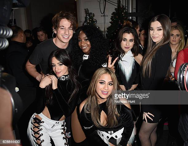 Charlie Puth poses with Camila Cabello Normani Kordei Ally Brooke Lauren Jauregui of Fifth Harmony and Hailee Steinfeld at the Z100's Jingle Ball...