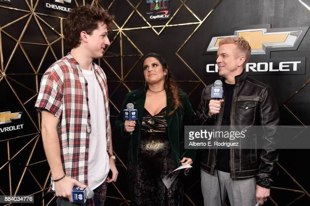 Charlie Puth Sisanie and JoJo Wright speak in the press room during 1027 KIIS FM's Jingle Ball 2017 presented by Capital One at The Forum on December...