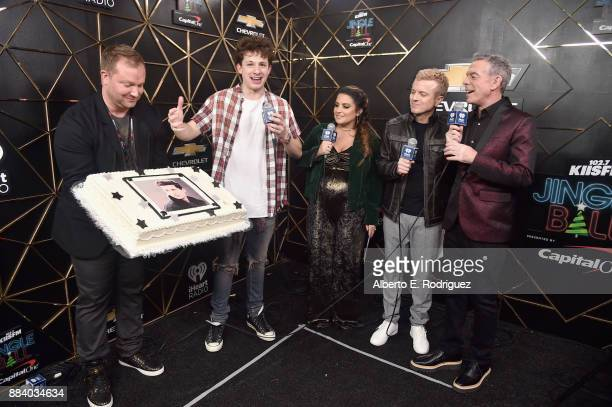 Charlie Puth Sisanie JoJo Wright and Elvis Duran in the press room during 1027 KIIS FM's Jingle Ball 2017 presented by Capital One at The Forum on...