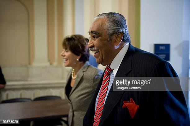Charlie Rangel DNY and Anna Eshoo DCA walk to the House Democratic Leadership Elections in the Cannon House Office Building on November 18 2008