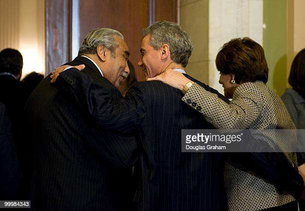 Charlie Rangel DNY Rahm Emanuel DIL and Anna Eshoo DCA talk outside the House Democratic Leadership Elections in the Cannon House Office Building on...