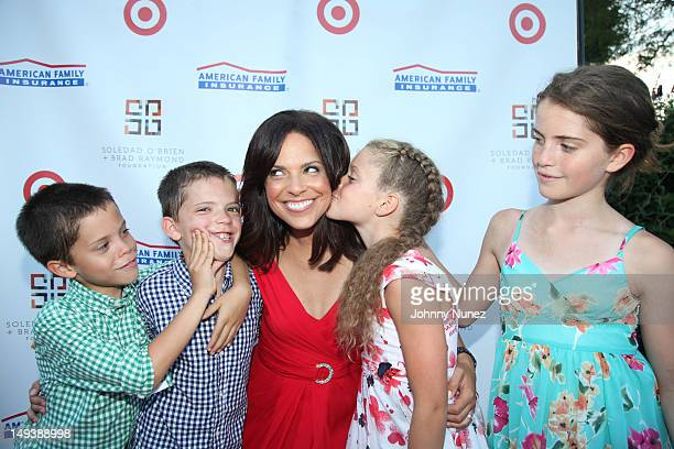Charlie Raymond Jackson Raymond Soledad O'Brien Cecilia Raymond and Sofia Raymond attend the New Orleans In The Hamptons Benefit on July 27 2012 in...