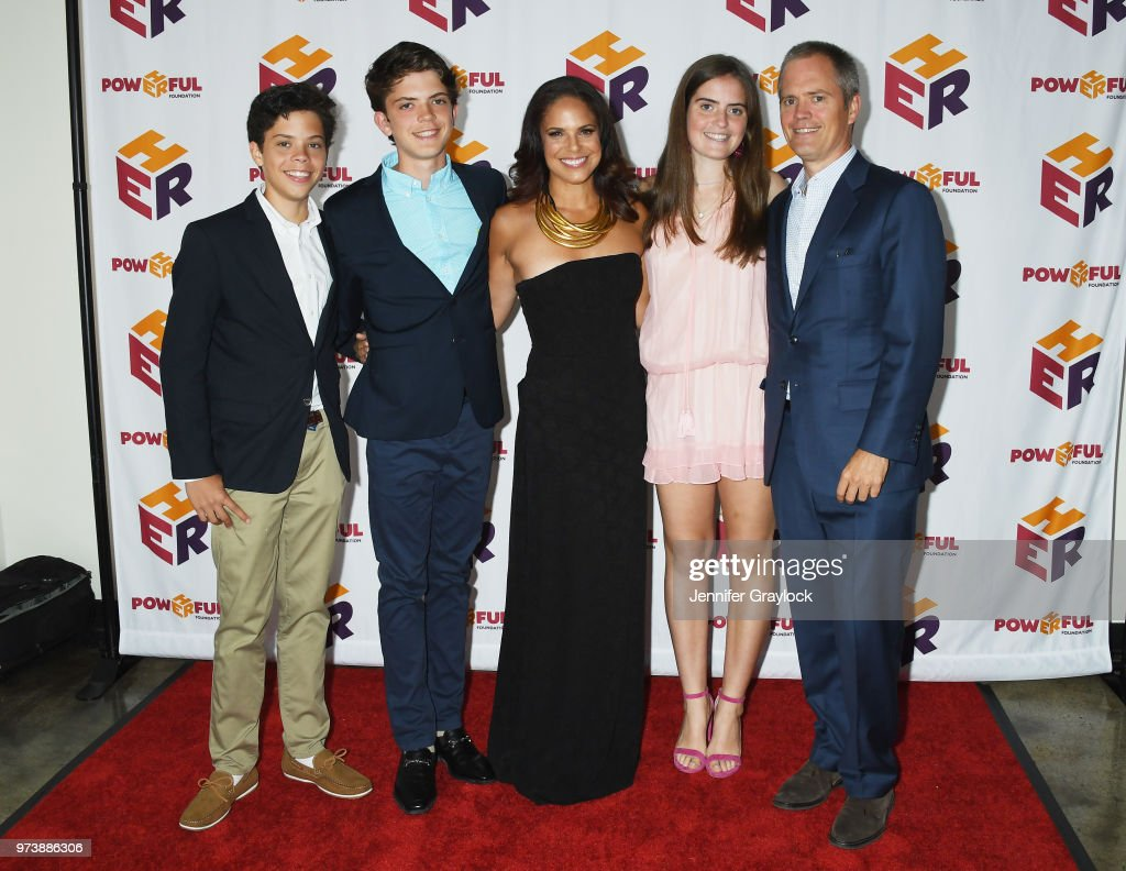 Charlie Raymond, Jackson Raymond, Soledad O'Brien, Sofia Raymond and Brad Raymond attend the PowHERful Benefit Gala on June 13, 2018 at Tribeca Rooftop in New York City.