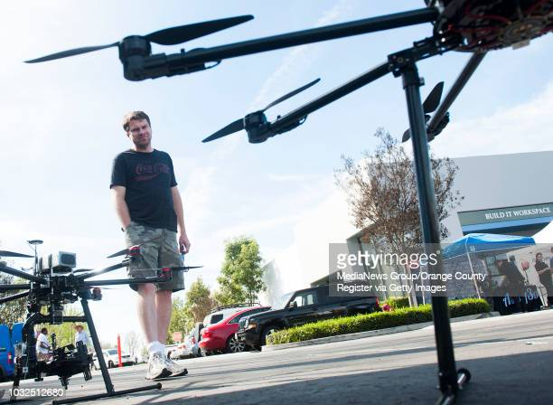 Charlie Reeves, of Long Beach, eyes an octocopter during the International Drone Day celebration in Los Alamitos Saturday. Reeves was looking at the...