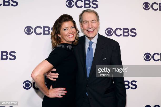 Charlie Rose and Norah O'Donnell attend the 2017 CBS Upfront at The Plaza Hotel on May 17 2017 in New York City