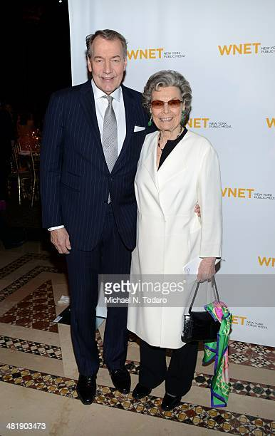 Charlie Rose and Rosalind P Walter attend the WNET 2014 Gala at Cipriani 42nd Street on April 1 2014 in New York City