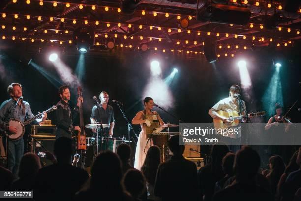 Charlie Rose Dango Rose Bonnie Paine and Daniel Rodriguez of Elephant Revival perform at Saturn Birmingham on October 1 2017 in Birmingham Alabama