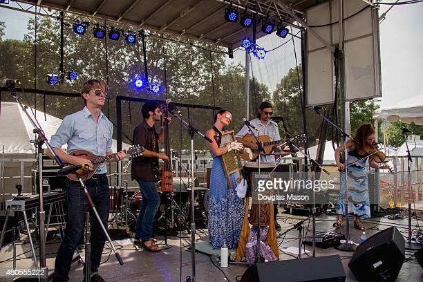 Charlie Rose Dango Rose Bonnie Paine Daniel Rodriguez Bonnie Law of Elephant Revival performs during the Green River Festival 2015 at Greenfield...