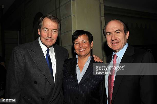 Charlie Rose, Debra L. Lee, Chairman and CEO BET Networks and Philippe Dauman, President and CEO Viacom attends the 2009 Center for Communication...