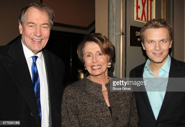 Charlie Rose Nancy Pelosi and Ronan Farrow attend the opening night of 'All The Way' on Broadway at The Neil Simon Theatre on March 6 2014 in New...