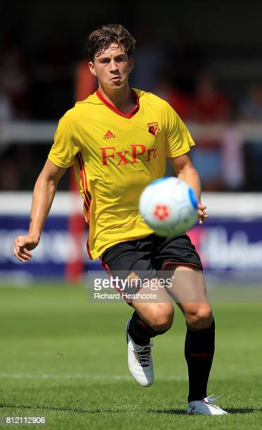 Charlie Rowan of Watford in action during the preseason friendly match between Woking and Watford U23 at the Laithwaite Community Stadium on July 08...