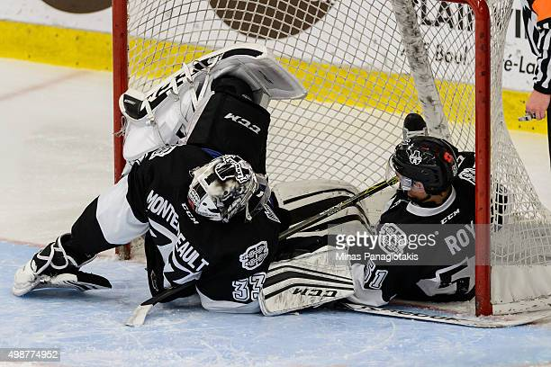 Charlie Roy of the Blainville-Boisbriand Armada crashes into goaltender Samuel Montembeault during the QMJHL game against the Moncton Wildcats at the...