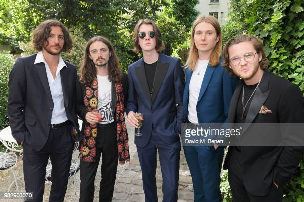 Charlie Salt Josh Dewhurst Tom Ogden Myles Kellock and Joe Donovan of Blossoms all wearing Paul Smith attend the Paul Smith SS19 Menswear Show during...