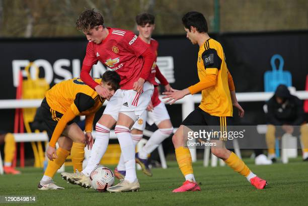 Charlie Savage of Manchester United U18s in action during the U18 Premier League match between Wolverhampton Wanderers U18s and Manchester United...