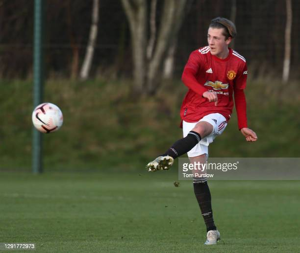 Charlie Savage of Manchester United U18s in action during the U18 Premier League match between Manchester United U18s and Leeds United U18s at Aon...