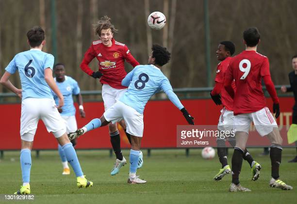 Charlie Savage of Manchester United U18s in action during the U18 Premier League match between Manchester United U18s and Manchester City U18s at Aon...