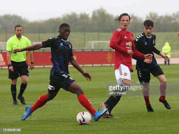 Charlie Savage of Manchester United U18s in action during the U18 Premier League match between Manchester United U18s and Middlesbrough U18s at Aon...