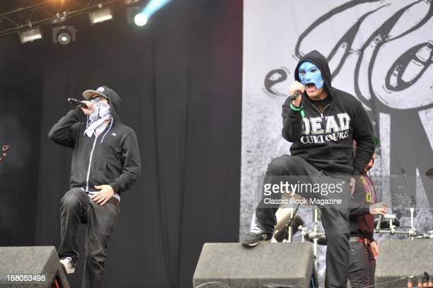 Charlie Scene and Jonny 3 Tears from Hollywood Undead live onstage at Download Festival 2011 Donington Park Leicester June 11 2011