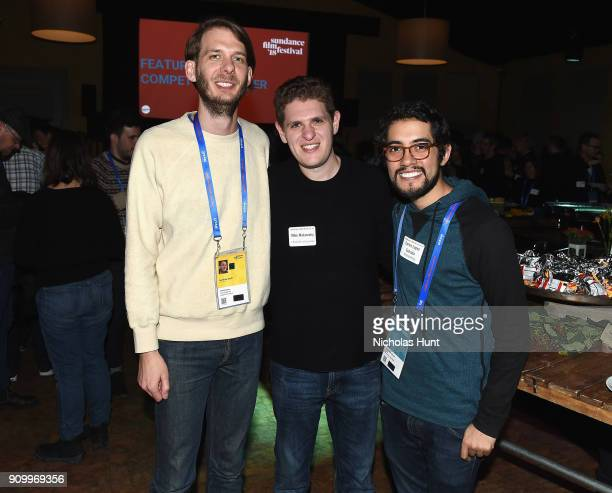 Charlie Sexto from Sundance Institute with filmmakers Mike Makowski and Carlos Lopez Estrada attend the Feature Film Competition Dinner during the...