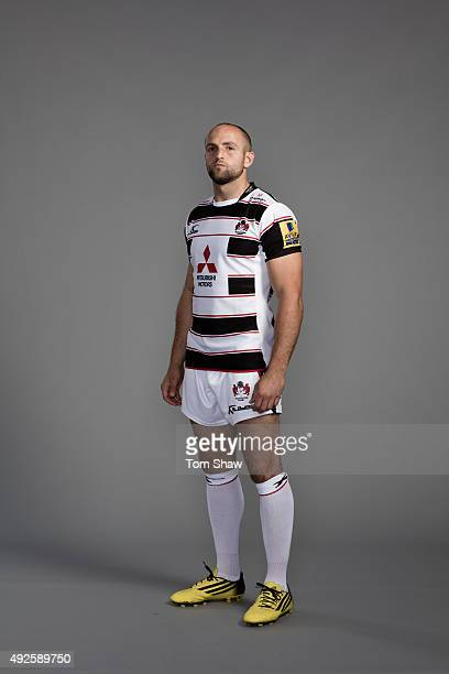 Charlie Sharples of Gloucester poses for a picture during the Gloucester Rugby Photocall at Hartpury College on September 18 2015 in Hartpury England