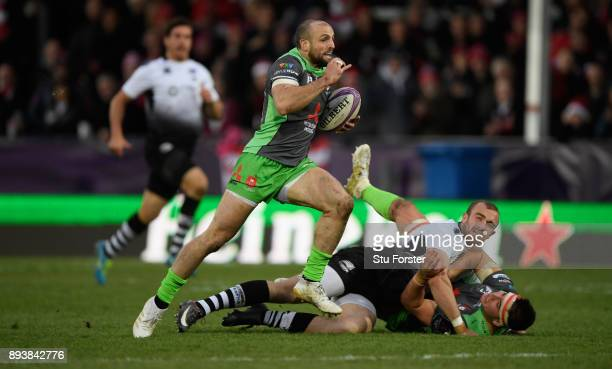 Charlie Sharples runs in try number six for Gloucester during the European Rugby Challenge Cup match between Gloucester Rugby and Zebre at Kingsholm...