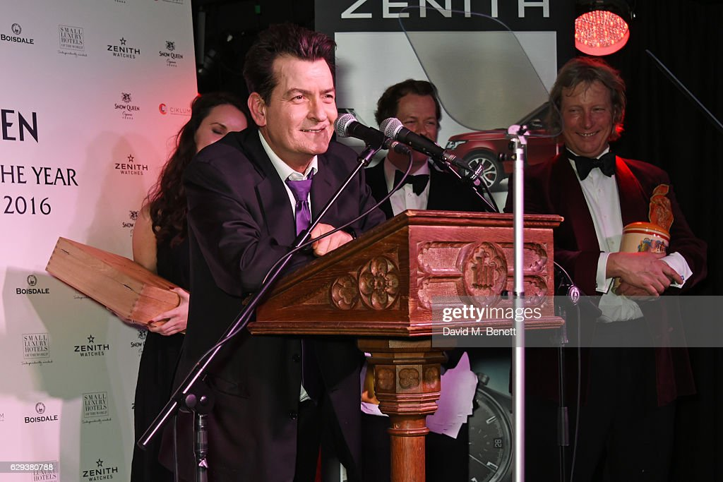 Charlie Sheen accepts the Cigar Smoker of the Year Runner-Up award at the Snow Queen Cigar Smoker of the Year awards at Boisdale of Canary Wharf on December 12, 2016 in London, England.