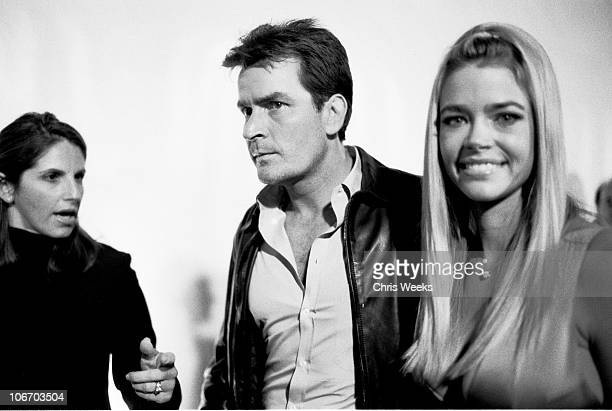 Charlie Sheen and Denise Richards during Giorgio Armani Receives First 'Rodeo Drive Walk Of Style' Award Black White Photography by Chris Weeks at...