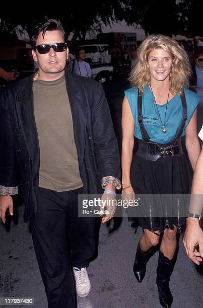 Charlie Sheen and Ginger Allen during 2nd Annual Reid Rondell Stunt Foundation Celebrity Race at Saugus Speedway in Saugus California United States