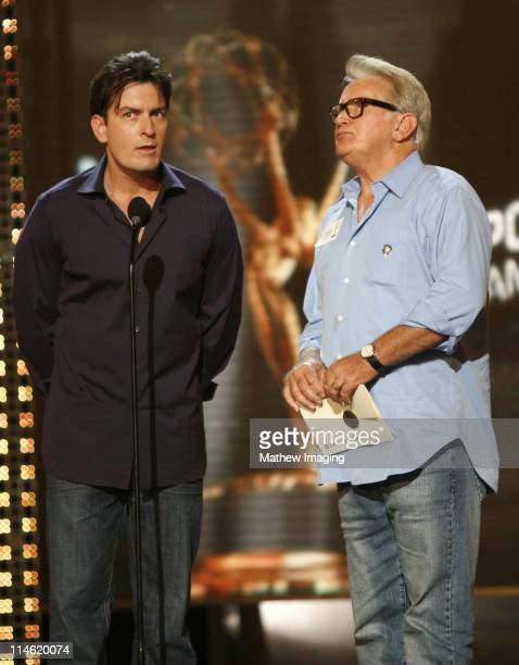 Charlie Sheen and Martin Sheen during 58th Annual Primetime Emmy Awards Rehearsals at The Shrine Auditorium in Los Angeles California United States