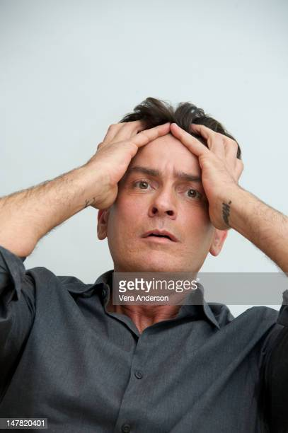 Charlie Sheen at the 'Anger Management' Press Conference at the Four Seasons Hotel on July 2 2012 in Beverly Hills California