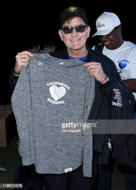 Charlie Sheen attends California Strong Celebrity Softball Game at Pepperdine University Baseball Field on January 12, 2020 in Malibu, California.