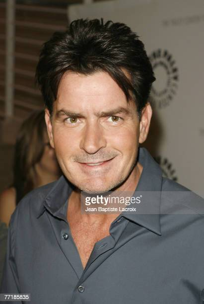 Charlie Sheen attends the 100th Episode Celebration of 'Two And A Half Men' presented by and held at The Paley Center For Media on October 3 2007 in...