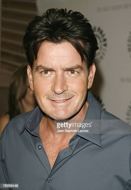 Charlie Sheen attends the 100th Episode Celebration of 'Two And A Half Men' presented by and held at The Paley Center For Media on October 3, 2007 in...