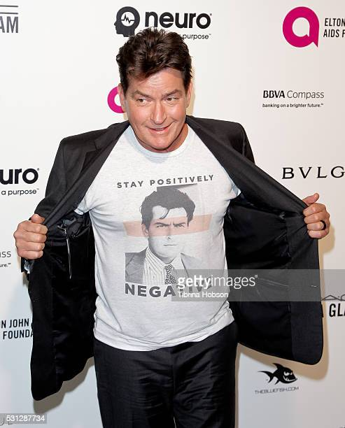Charlie Sheen attends the 24th annual Elton John AIDS Foundation's Oscar Party on February 28 2016 in West Hollywood California