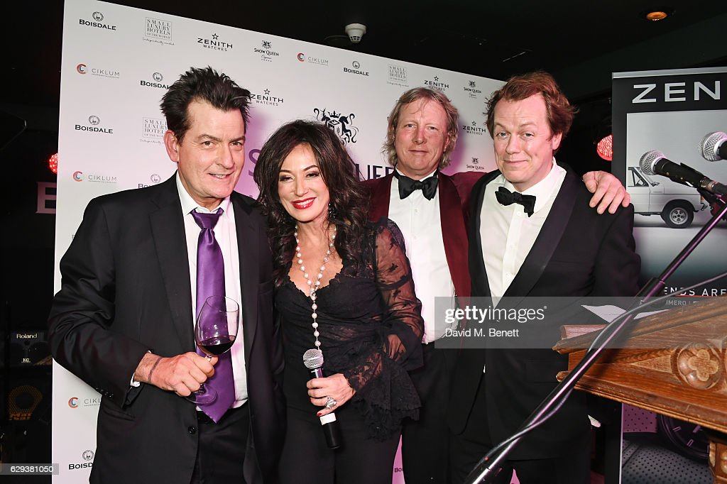 Charlie Sheen, Nancy Dell'Olio, Ranald Macdonald and Tom Parker Bowles attend the Snow Queen Cigar Smoker of the Year awards at Boisdale of Canary Wharf on December 12, 2016 in London, England.