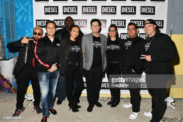 Charlie Sheen poses with members of the Don Sueños Tequila team as DIESEL celebrates the exclusive launch of DIESEL Wynwood 28, their first...