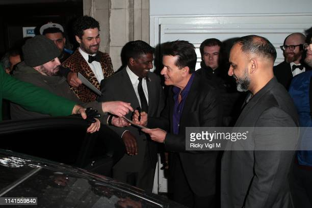 Charlie Sheen seen leaving Annabel's after Q&A to discuss his life and career on April 09, 2019 in London, England.