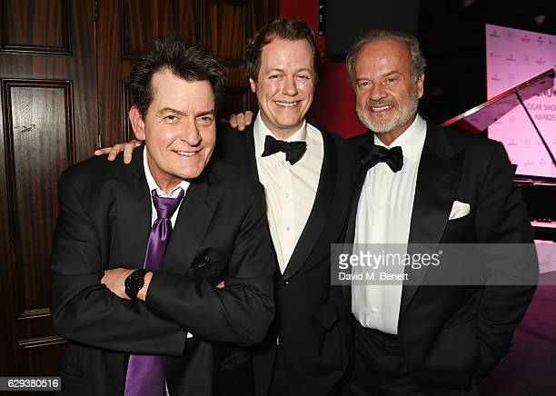 Charlie Sheen, Tom Parker Bowles and Kelsey Grammer attend the Snow Queen Cigar Smoker of the Year awards at Boisdale of Canary Wharf on December 12,...