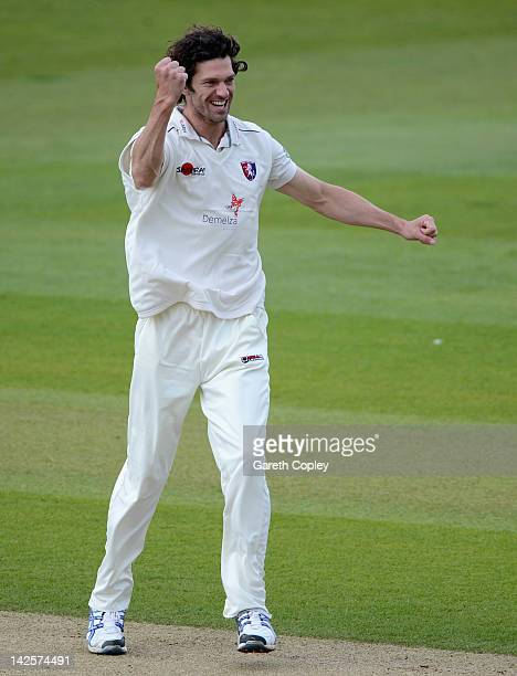 Charlie Shreck of Kent celebrates dismissing Ajmal Shahzad of Yorkshire during day four of the LV County Championship division two match between...