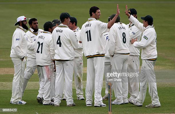 Charlie Shreck of Nottingham celebrates taking the wicket of Neil McKenzie of Hampshire during the LV County Championship match between Hampshire and...